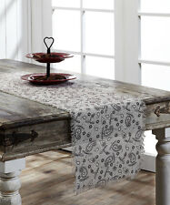 "Rustic Plum Brown Paisley Floral on Cream Sheer Tobacco Cloth 36"" Table Runner"