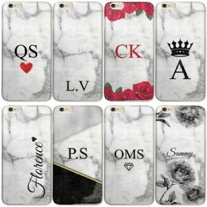 PERSONALISED INITIAL MARBLE PHONE CASE HARD COVER FOR SONY XPERIA L1/L2/X/XA/XZ