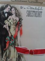 1938 Vtg Fancy Dress COUPLE Rust Craft Ribbon SWEETHEART CHRISTMAS GREETING CARD
