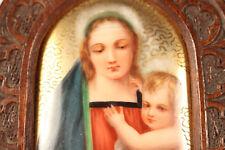 Neogotische Porzellan Miniatur Malerei Madonna mit Kind ca. 1850-80
