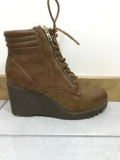 Ladies New Look Brown Platform Ankle Boots Size Uk 5