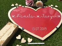 Personalised Alternative Wedding Guest Book Sign-in Wooden Hearts Drop Box