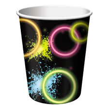 HAPPY BIRTHDAY Glow Party 9oz PAPER CUPS (8) ~ Supplies Beverage Drinking Neon