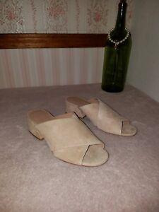 Vince Karsen Open Mule apricot Leather Suede Sandals Shoes 6 M beige tan $275