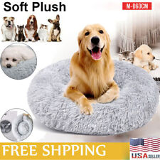 Pet Dog Cat Shag Fluffy Calming Bed Soft Plush Round Nest Kennel Cushion Bed Us