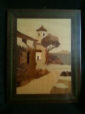 """Wood inlay picture of an Old Southwest Church Mission 9"""" by 7"""""""