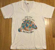Vintage 1996 HUNGARY t shirt L vneck white 90s Magyar kingdom history medieval