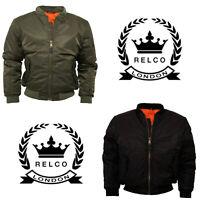Men's Relco MA1 Flight Jacket Olive Green Black Doorman Skins Ska Bomber Jacket