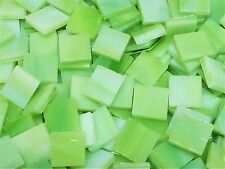 """100 1/2"""" Apple Green White Opal Stained Glass Mosaic Tiles"""