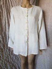 La Bottega Di Brunella white 100% linen shirt jacket size L, made in Italy