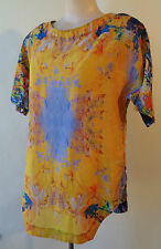 Brown Sugar NEW yellow blue silk print top size 8 NWT short sleeves