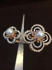 Stunning 4.40 Cts Round Brilliant Cut Pave Diamonds Pearl Ring In 14K Rose Gold