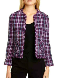 Kate Spade $448 Plumtree Open Front Jacket 10 Plaid Tweed Fringe Jacket Pockets