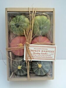 William Sonoma Pumpkin Harvest Set of 6 Floating Candles in Wooden Crate