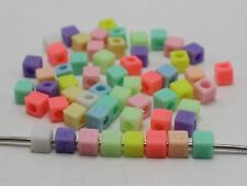 250 Mixed Pastel Color Acrylic Assorted Alphabet Letter Cube Pony Beads 6X6mm
