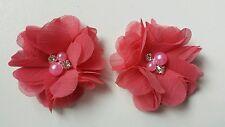 "2 Girls small Deep coral pink  2""  Flower.Voile  Hair Clip pearl diamante"