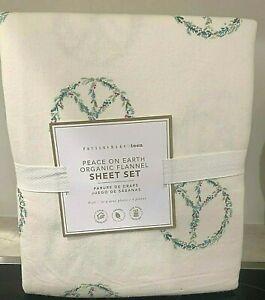 Pottery Barn Teen Peace on Earth TWIN organic flannel Sheet set
