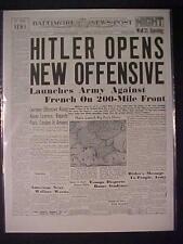 VINTAGE NEWSPAPER HEADLINE ~WORLD WAR 2 HITLER NAZIS ARMY BATTLE FRANCE WWII~
