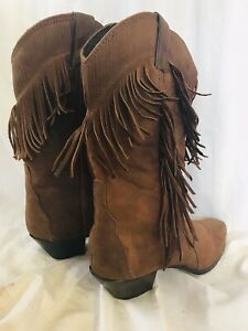 Vintage Laredo Brown Suede Fringed Cowboy Boots Size 8.5 Womens Leather
