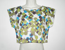 Cotton Lawn 80's Crop Top Retro Circles Summer Size Small Olive Turquoise Browns