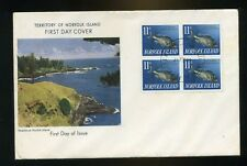 1963 Norfolk Islands 11d fish  block of four Illustrated First Day Cover