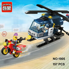 Enlighten 1905 Police Helicopter Motorcycle Building Block Toys blocks toy