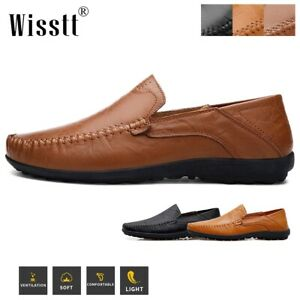 Mens Comfort Leather Casual Slip on Shoes Antiskid Driving Loafers Moccasins NEW