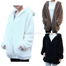 UK Womens Winter Warm Cute Fleece Coat Hooded Bear Ears Jacket Hoodie Outerwear