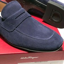 Ferragamo Penny 11 D 44 Blue Suede Leather Dress Loafers Men's Casual Moccasin