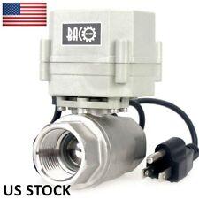 "BACOENG 1"" NPT 110V~230VAC 2Way SS304 w/ US Plug Electric Motorized Ball Valve"