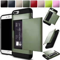 For Apple iPhone 6 7 8 Plus Hidden Card Holder Protective Tough Phone Case Cover