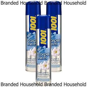 3 x 1001 CARPET FRESH FRESHENER LINEN & WHITE FLOWERS QUICK DRYING FOAM 300ML