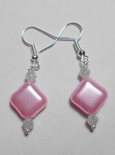 Dangle earrings - grey crystals, pink pearl glass beads