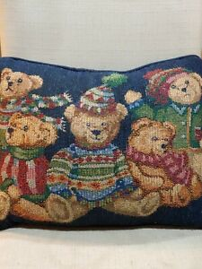 Christmas Holiday Teddy Bear Throw Pillow 12x16