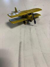 (Lot #1753) Vintage Tootsietoy Toy Airplane Single Engine Bi-Plane Yellow