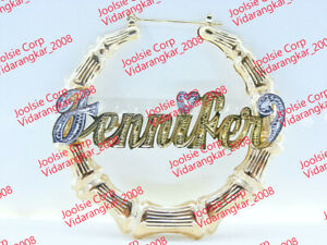 """PERSONALIZED 14K GOLD PLATED 3"""" LARGE  BAMBOO NAME EARRINGS ANY NAME / US SELLER"""