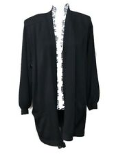 St. John by Marie Gray Black Knit Cardigan Draped Front Pleated Sweater Small