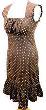 CEME LONDON Polka Dot Wiggle Midi Tea Dress 12 Brown Frill Hem Fitted Rockabilly