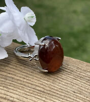 7g NATURAL ALMANDINE RED GARNET CRYSTAL HEALING RING  Reiki Charged  INDIA