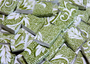 China Mosaic Tiles ~ AnTiQuE ENGLiSH MoSSY GReEN ~ Broken Plate Tiles