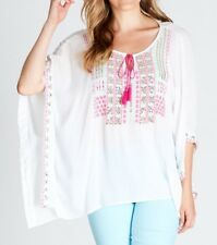Crossroads Cheesecloth White Embroidered  Kaftan-Tunic Size 16-18 (Free Post)