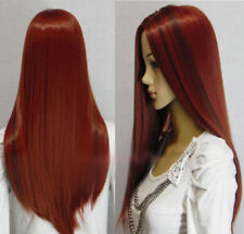 New Fashion Long Dark Red Straight Women Lady Cosplay Party Hair Wig Wigs + Cap