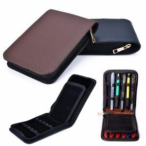 12 Pens Fountain Pen Roller Leather Case Holder Stationery For Student Black ´UK