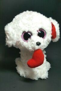 Ty Beanie Boo's Dog Puppy Plush Stuffed Animal Honey Bun White  Girl Soft toy R