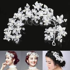 Bridal Wedding Prom Party Faux Pearl Flower Hair White Band Headband Tiara Hot