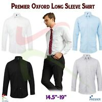 Premier Long Sleeve Men's Signature Oxford Shirt Easycare Formal Smart Work Wear