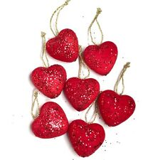 Red Glitter Heart Ornaments Set of 7 Valentines Day Decorations Party Decor NEW