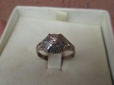 anello antico in oro bianco e giallo e diamante anni 40  -- autentico --