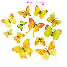 12 Pcs Party Supplies Home Butterfly Artificial Wire 3d Cake Topper Yellow