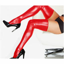 Black Red Leather Pole Dancer Fetish PVC Thigh High Stockings Women G-Strings